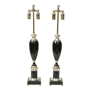 Mid 20th Century Art Deco Style Black and Chrome Urn Table Lamps - a Pair For Sale