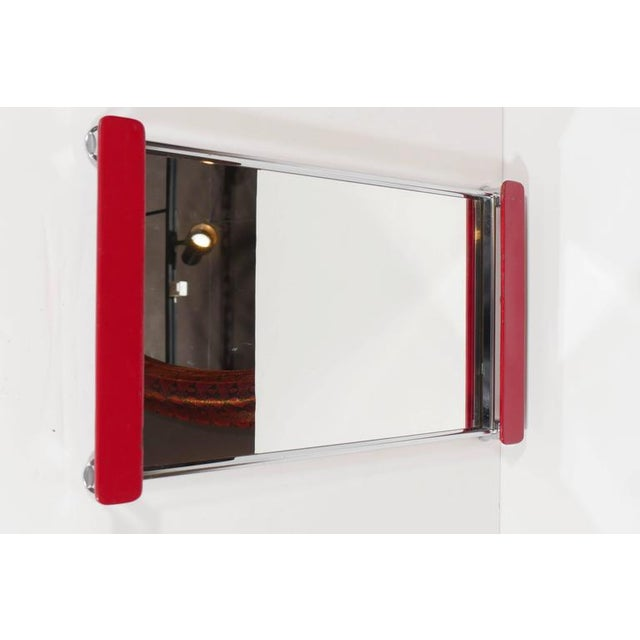 Silver Art Deco Mirrored Bar Tray with Red Lacquered Handles For Sale - Image 8 of 11