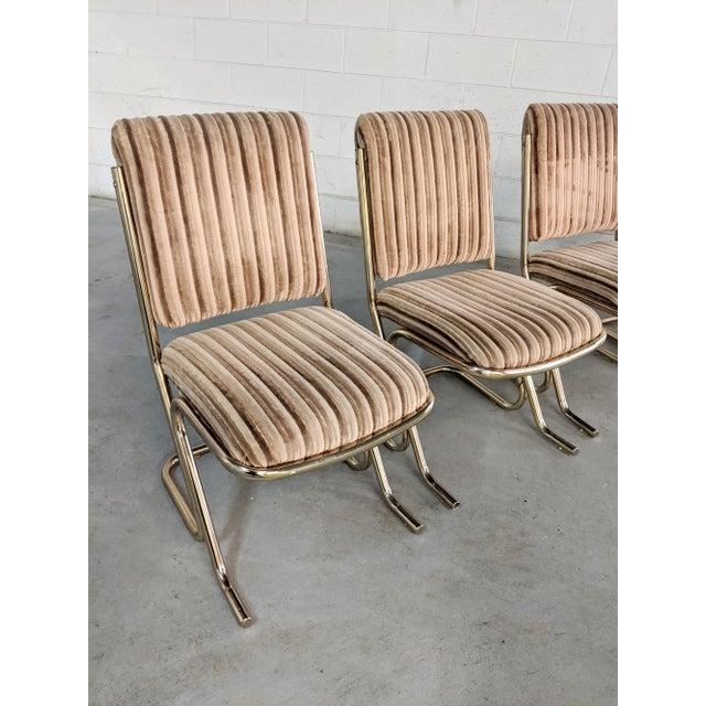 Chromcraft 1970s Chromcraft Velvet & Brass Dining Chairs- Set of 4 For Sale - Image 4 of 12