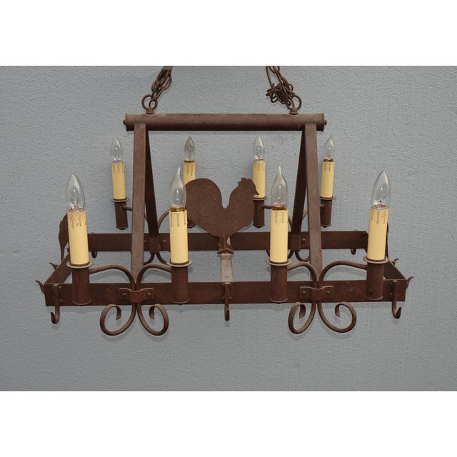 Vintage French Country Wrought Iron Pot Rack Chandelier W ...