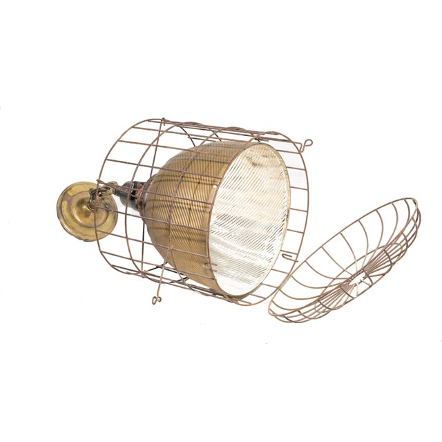 Gold 1920s Industrial Gold Mercury Glass Caged Ceiling Pendant Lamp For Sale - Image 8 of 8