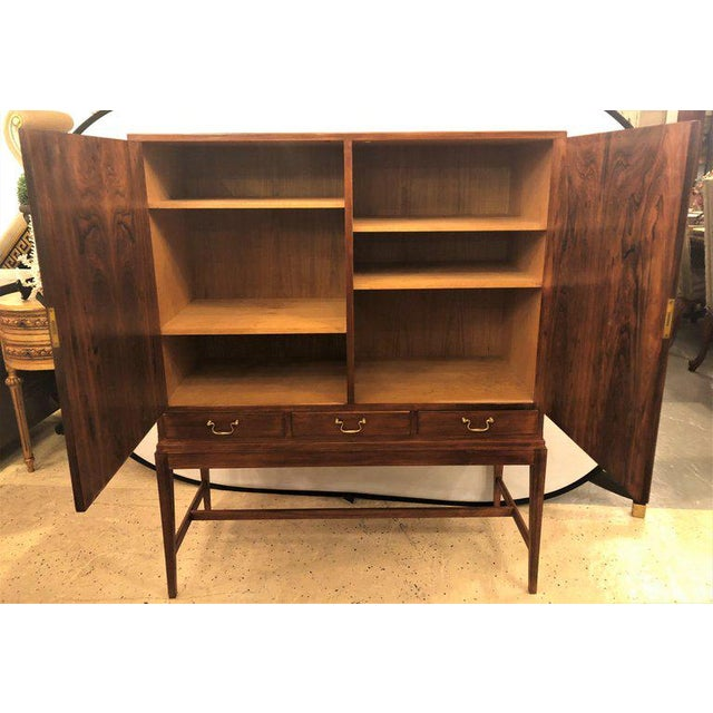 Two-Door Over Three-Drawer Mid-Century Modern Brazilian Rosewood Cabinet Chest For Sale - Image 11 of 13