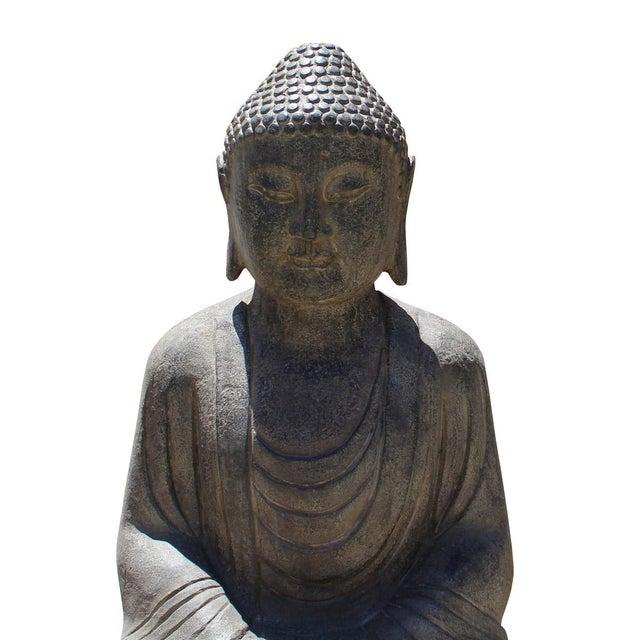 Chinese Stone Sitting Buddha Amitabha Shakyamuni Statue For Sale - Image 4 of 6