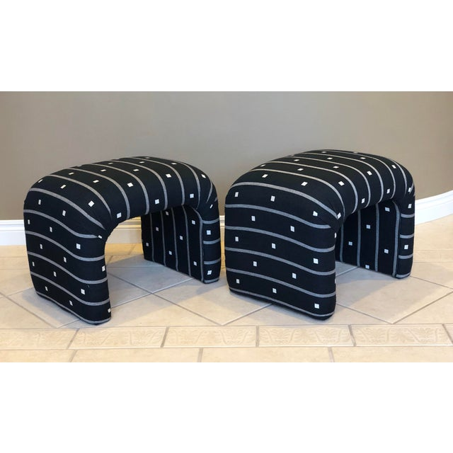 Fabulous pair of mid-century upholstered stools/benches in the manner of Milo Baughman and Karl Springer. These waterfall...
