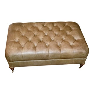 Early 21st Century Vintage Lee Industries Sage Tufted Leather Ottoman For Sale
