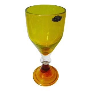 Orange Blenko Goblet Chalice Case Very Rare Piece With Foil Label and Marked on Base For Sale