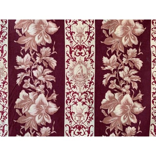 Fabric Antique French 19th Century Greyhound Dog Madder Brown Dye Printed Floral 1870 For Sale