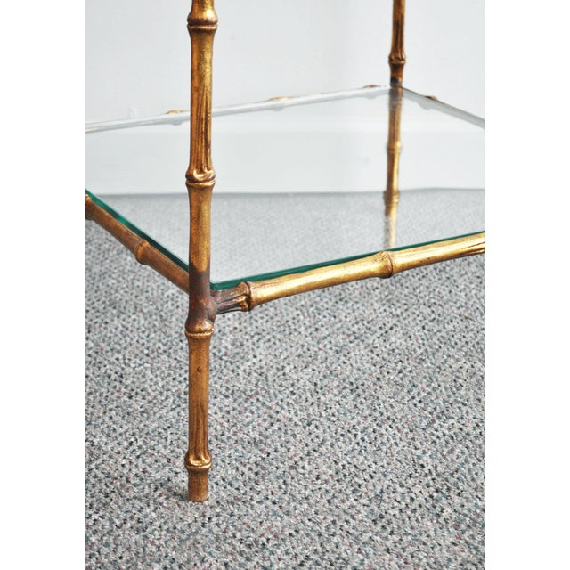 Vintage Italian Gold Gilt Faux Bamboo Table - Image 5 of 11