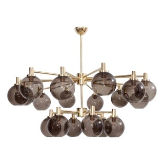Very Huge Tinted Glass and Brass Chandelier Attributed to Hans-Agne Jakobsson For Sale