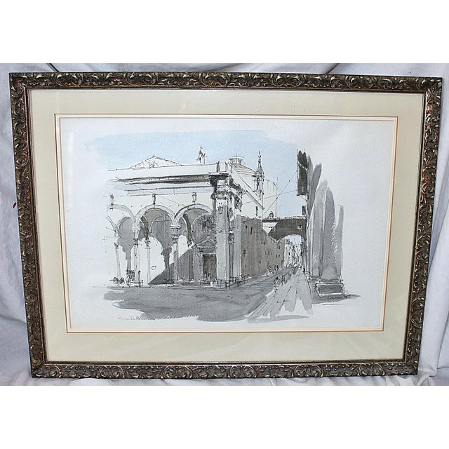 Framed Pen & Ink Watercolors - a Pair - Image 3 of 8