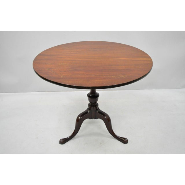 Queen Anne 20th Century Queen Anne Style Tripod Mahogany Tilt Top Occasional Table For Sale - Image 3 of 11