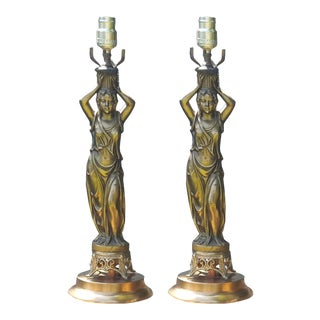1930s Brass Figure Lamps - A Pair For Sale