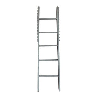 Vintage 5 Rung Wood and Metal Straight Ladder For Sale
