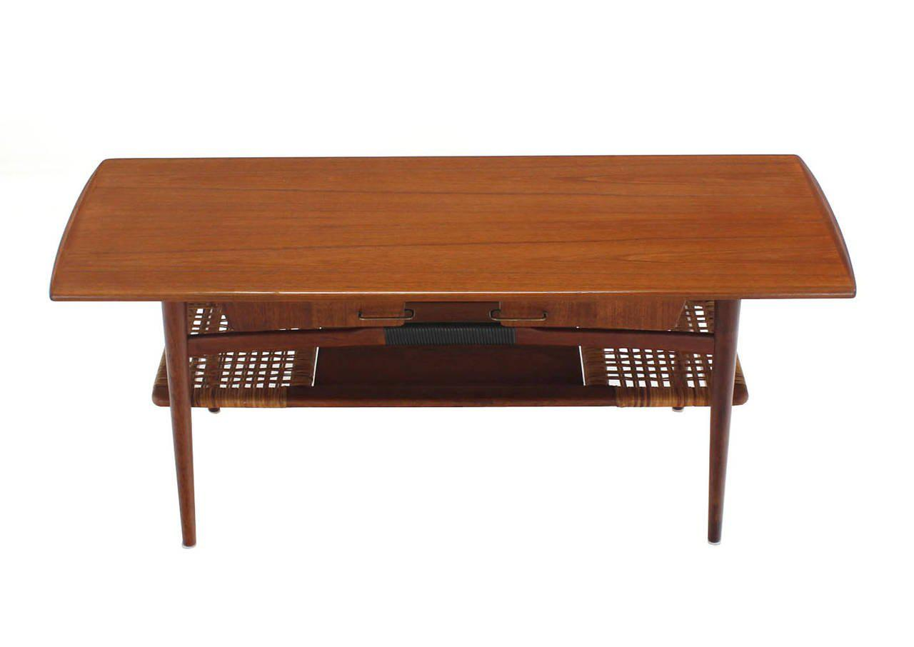 Completely new Fine Danish Modern Teak Coffee Table Cane Shelf Rolled Edges 4  PM59