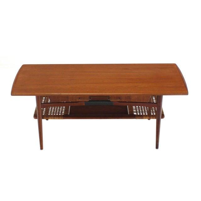 Completely new Fine Danish Modern Teak Coffee Table Cane Shelf Rolled Edges 4  PM59