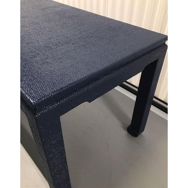 1970s Raffia-Wrapped Blue Lacquered Desk or Console For Sale - Image 10 of 13