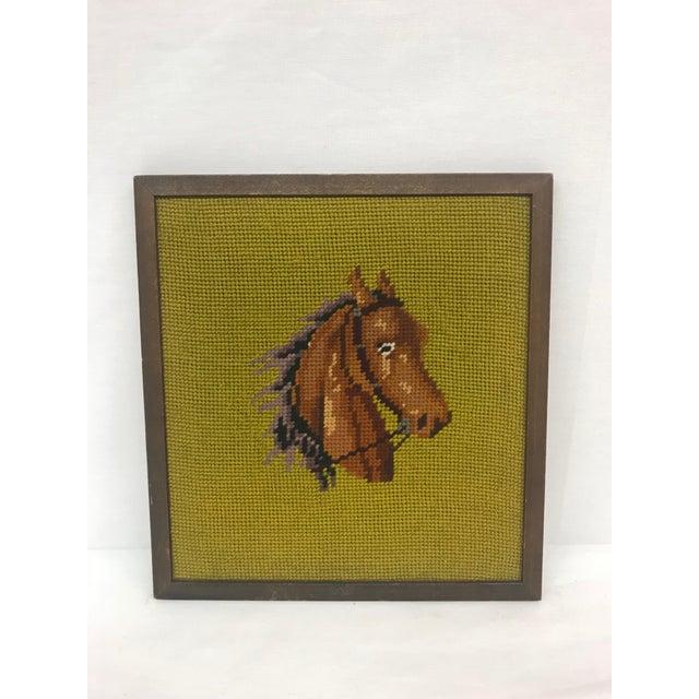 Framed Needlepoint Horse For Sale - Image 4 of 4