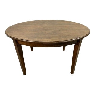 Vintage French Oak Oval Rustic Extension Shaker Leg Dining Table 1950s For Sale