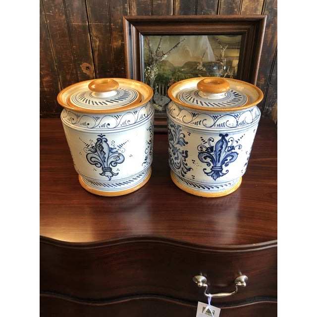 Provencal Ceramic Painted Lidded Apothecary Jars -A Pair For Sale - Image 4 of 13