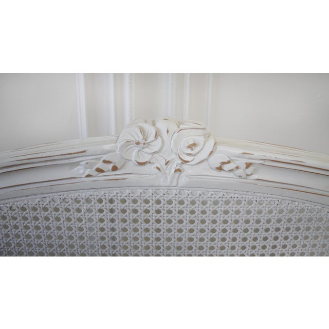 Reproduction Twin Carved and Painted Louis XV Style French Bed With Cane For Sale In Los Angeles - Image 6 of 12