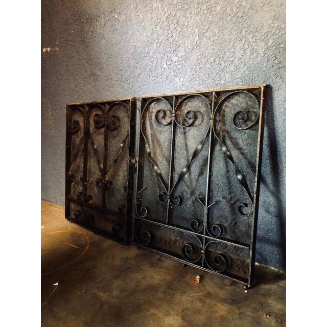 Boho Chic Antique Black Iron Fireplace Screens-A Pair For Sale - Image 3 of 10
