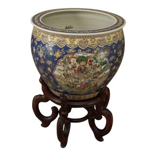 Chinese Porcelain Famille Rose Fishbowl Planter on Wood Stand For Sale