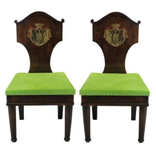 A Pair of Large Hall Chairs in the Manner of Thomas Hope For Sale
