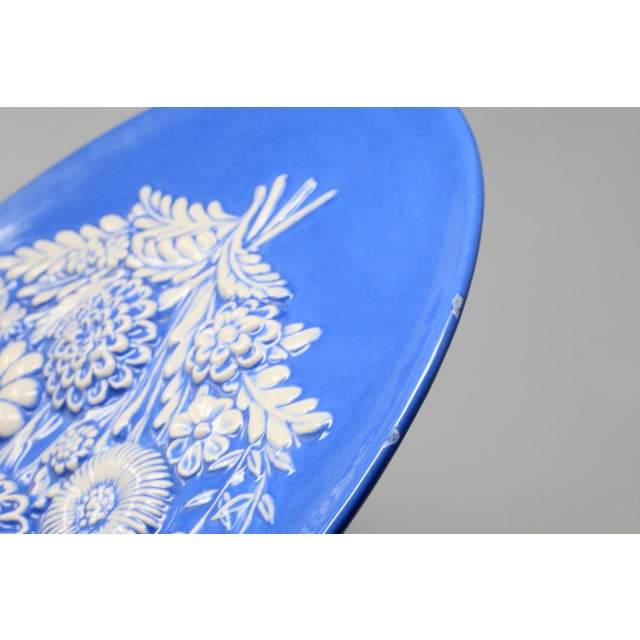 Ceramic Vintage Blue and White Embossed Flowers Plates - Set of 2 For Sale - Image 7 of 10