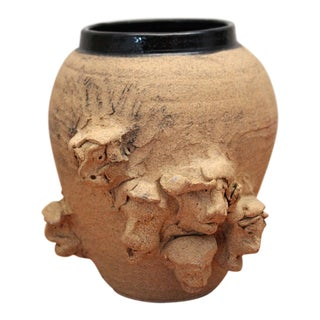 Abstract Face Ceramic Vase For Sale
