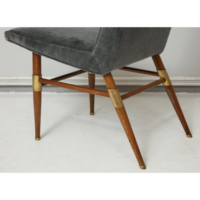 Charcoal Set of Six Italian Mid-Century Modern Dining Chairs, Recently Upholstered For Sale - Image 8 of 11