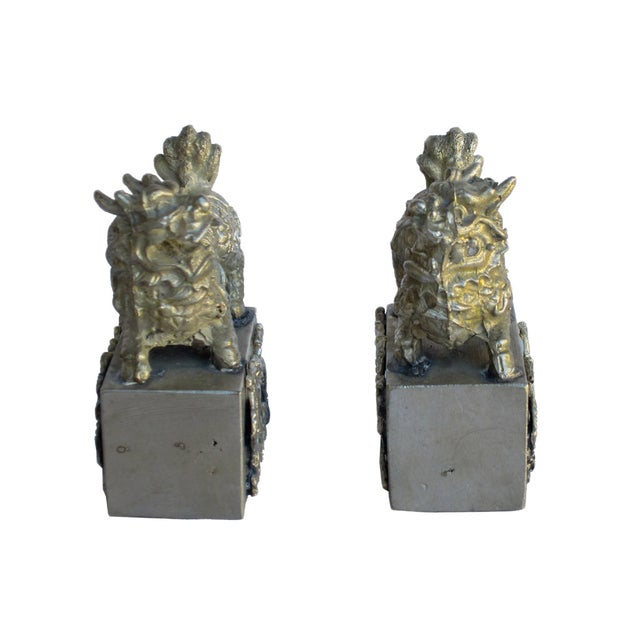 Chinese Mini Silver Metal Foo Dogs - Pair - Image 2 of 6