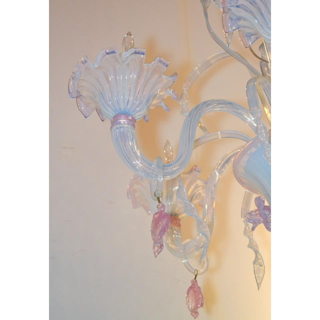 1920s Antique Murano Blown Glass Opalescent Chandelier For Sale - Image 5 of 9