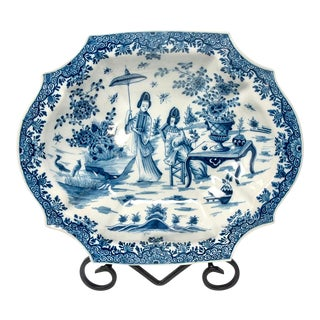 Blue and White Delft Platter With Chinoiserie Design For Sale
