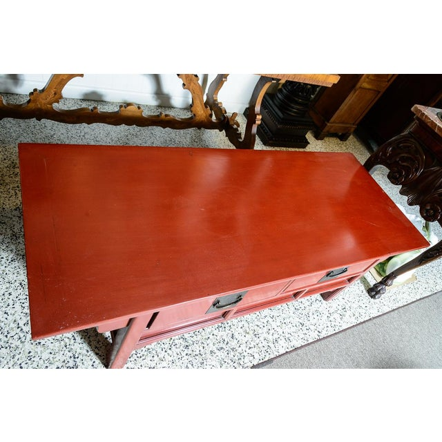 Asian Red Wooden Coffee Table For Sale - Image 4 of 10