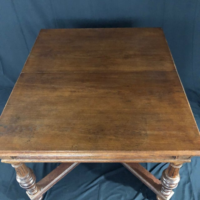Carved Oak Arts and Crafts Art Deco French Expandable Dining Table For Sale - Image 11 of 13
