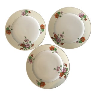 Japanese Hand Painted Floral Dinner Plates - Set of 3 For Sale