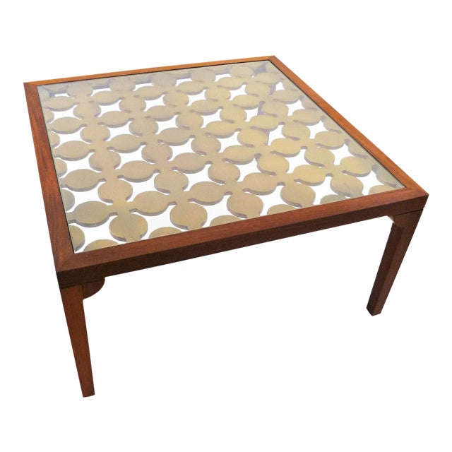 Parzinger Style Classy 50's Mahogany & Giltwood Grille Coffee Table - Image 1 of 13