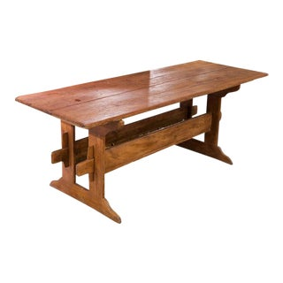 19th C. Finnish Double Trestle Table For Sale