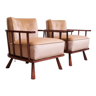 Pair of t.h. Robsjohn-Gibbings Stained Walnut Barrel-Back Lounge Chairs For Sale