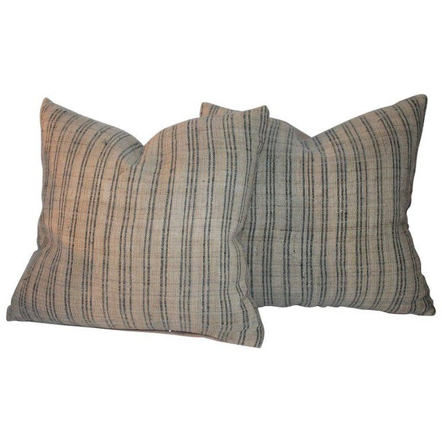 19th Century Early Linen Pillows - a Pair For Sale - Image 9 of 9