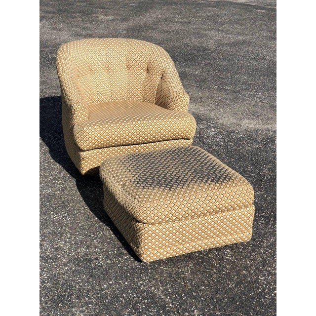 1970s Mid-Century Modern Directional Barrel Back Swivel Club Chair With Ottoman - 2 Pieces For Sale - Image 12 of 12