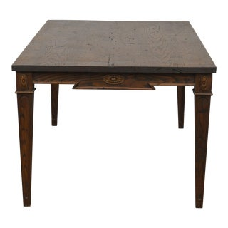 Directoire Style Distressed Oak Custom Quality One Drawer Coffee Table For Sale