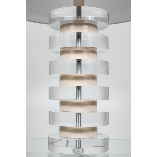Monumental Pair of Karl Springer Stacked Lucite Lamps For Sale In Los Angeles - Image 6 of 9
