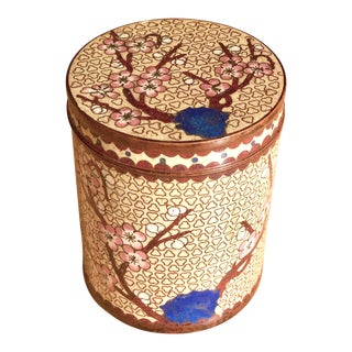 Chinese Chinoiserie Lidded Cloisonné Cherry Blossom Cylinder Jar For Sale