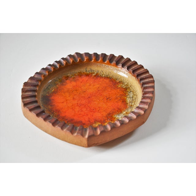 Orange Robert Maxwell Studio Art Pottery Piece With Orange Crazing For Sale - Image 8 of 9
