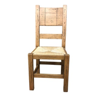 Italian Solid Oak Dining Chair For Sale