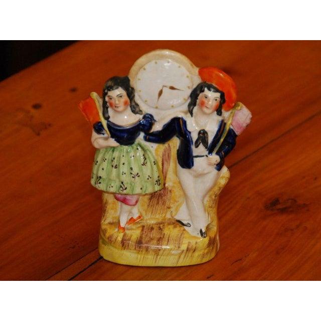 Farmhouse Staffordshire Couple & Clock Figurine For Sale - Image 3 of 3