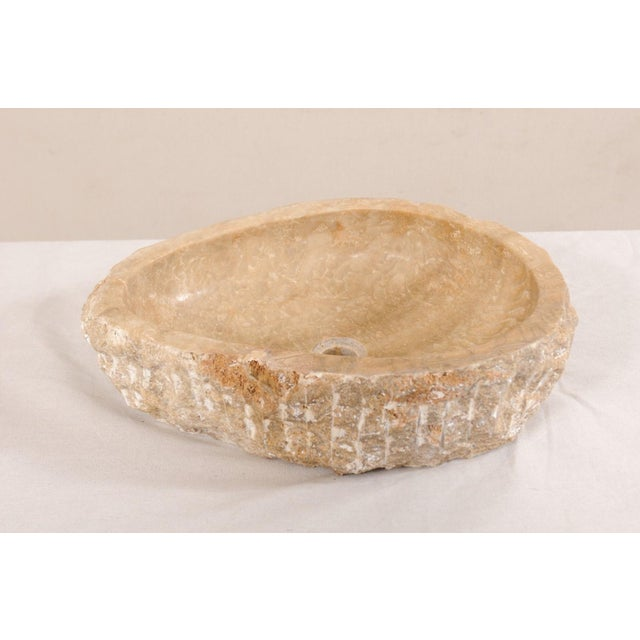 Natural Carved Onyx Sink Basin in Taupe Color For Sale - Image 4 of 12