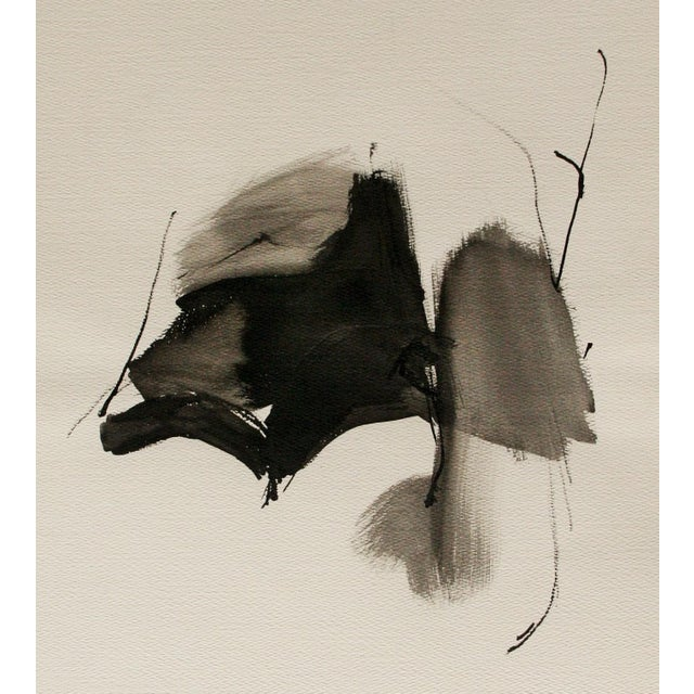 Vintage Abstract Black and White Watercolor Painting - Image 6 of 6