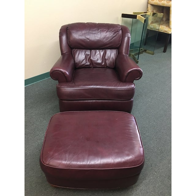 Whittemore Sherrill Ltd Leather Arm Chair Amp Ottoman Chairish
